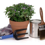 Garden tools, potted plant, and paint