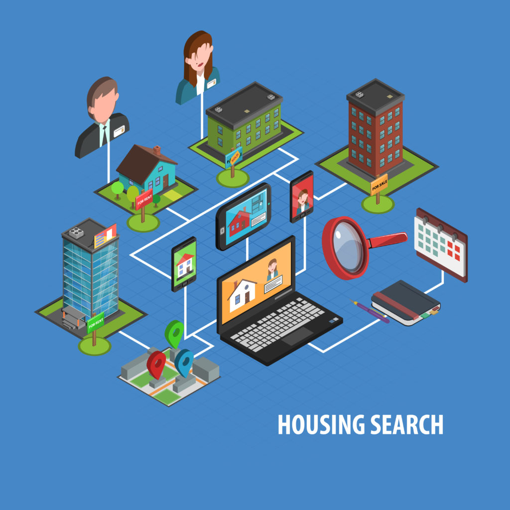Real estate search concept with isometric notebook and houses icons vector illustration